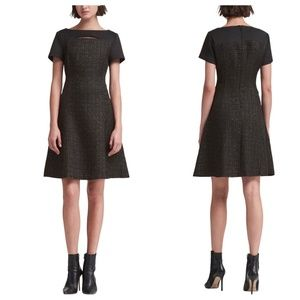 DKNY Cutout Tweed Gold Thread Fit  Flare Dress NWT